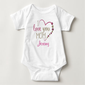 """Personalized """"I Love Mom"""" with Heart Baby Bodysuit"""