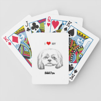 Personalized I Love My Shih Tzu Pencil Sketch Bicycle Playing Cards