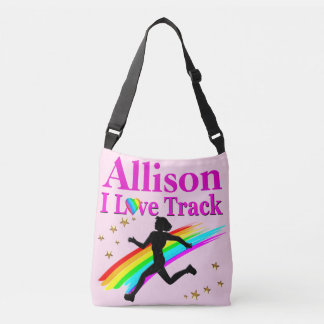 PERSONALIZED I LOVE TRACK PINK CROSS BODY TOTE TOTE BAG