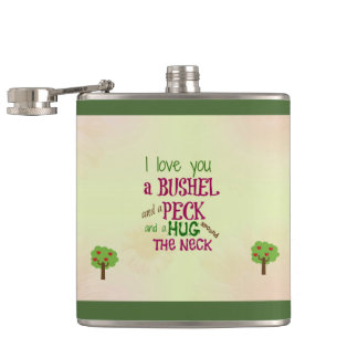 Personalized I love you stainless steel flask