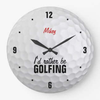 Personalized I'd rather be golfing Wall Clock