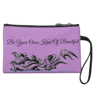 Personalized Illustrated Deer, Purple Wristlet