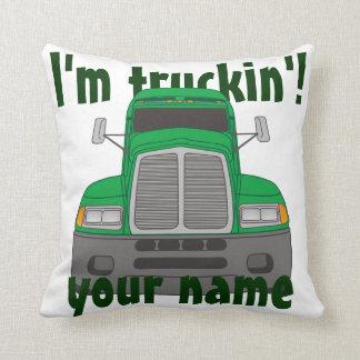 Personalized I'm Truckin' (Green) Cushion
