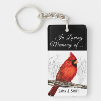 Personalized In Loving Memory Cardinal Keychain
