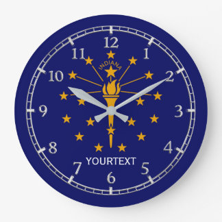 Personalized Indiana State Flag Design on Large Clock