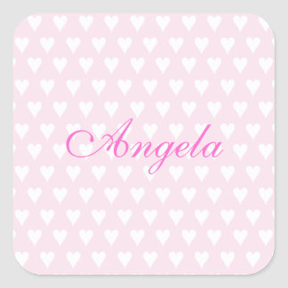 Personalized initial A girls name cute pink hearts Stickers
