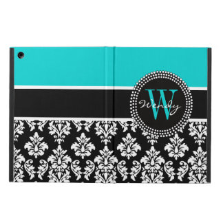 Personalized Initial Aqua Black Damask Pattern Cover For iPad Air