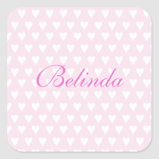 Personalized initial B girls name cute pink hearts Stickers