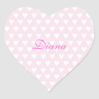 Personalized initial D girls name cute pink hearts Heart Sticker