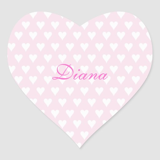Personalized initial D girls name cute pink hearts Heart Stickers