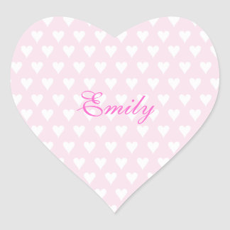 Personalized initial E girls name cute pink hearts Heart Sticker