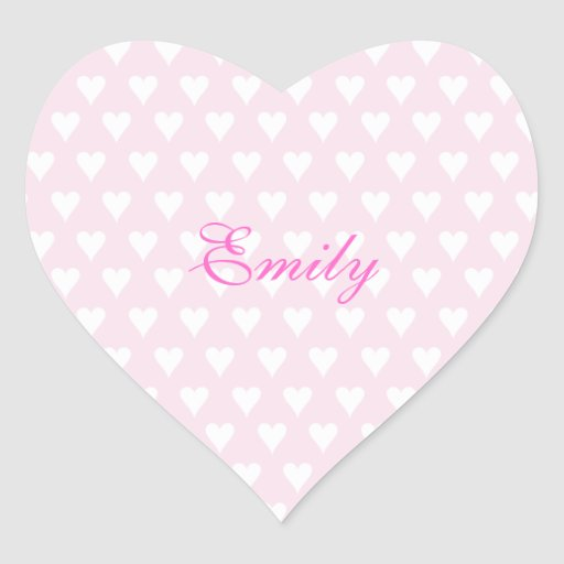 Personalized initial E girls name cute pink hearts Stickers