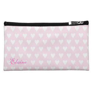Personalized initial E girls name pink hearts Makeup Bag