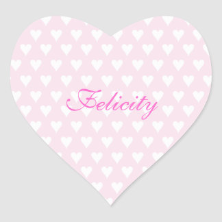 Personalized initial F girls name cute pink hearts Heart Sticker
