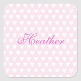 Personalized initial H girls name cute pink hearts Square Sticker
