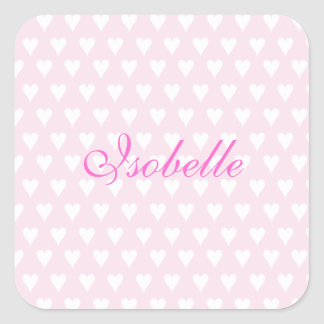 Personalized initial I girls name cute pink hearts Stickers