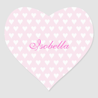 Personalized initial I girls name cute pink hearts Heart Sticker