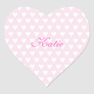 Personalized initial K girls name cute pink hearts Heart Sticker