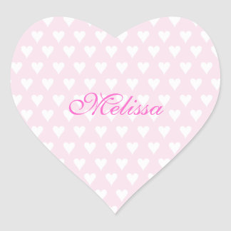Personalized initial M girls name cute pink hearts Heart Sticker