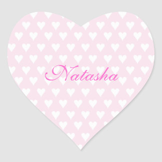 Personalized initial N girls name cute pink hearts Heart Sticker