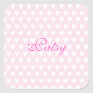 Personalized initial P girls name cute pink hearts Square Stickers