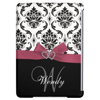 Personalized Initial, Pink, Black Damask Pattern