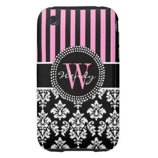 Personalized Initial Pink Black Damask Stripes iPhone 3 Tough Cover
