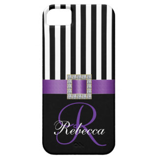 Personalized Initial Purple Black Stripes Pattern iPhone 5 Covers