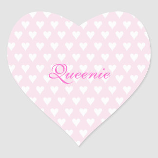 Personalized initial Q girls name cute pink hearts Heart Sticker