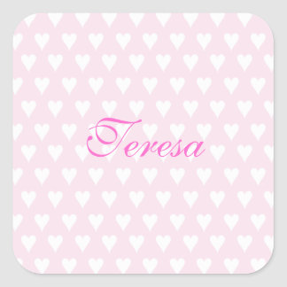 Personalized initial T girls name cute pink hearts Square Sticker