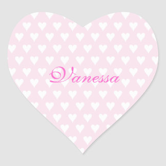 Personalized initial V girls name cute pink hearts Heart Stickers