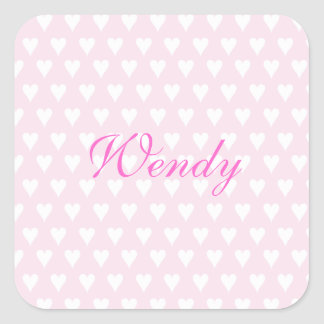 Personalized initial W girls name cute pink hearts Square Sticker