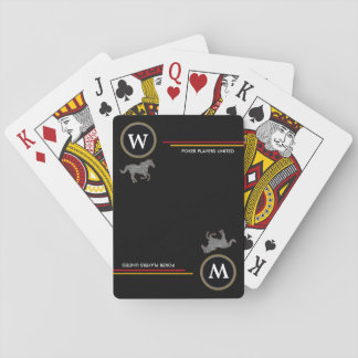 personalized initial with horses black poker deck