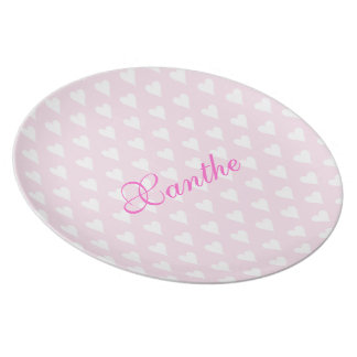 Personalized initial X girls name cute hearts Party Plate