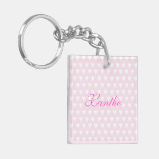 Personalized initial X girls name cute pink hearts Double-Sided Square Acrylic Key Ring
