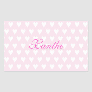 Personalized initial X girls name cute pink hearts Rectangular Sticker