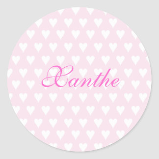 Personalized initial X girls name cute pink hearts Round Sticker
