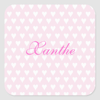 Personalized initial X girls name cute pink hearts Sticker