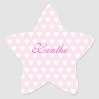 Personalized initial X girls name cute pink hearts Star Sticker