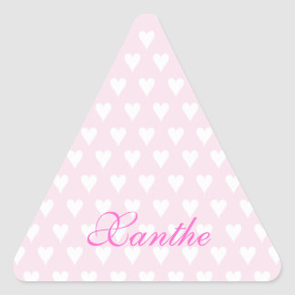 Personalized initial X girls name cute pink hearts Triangle Sticker