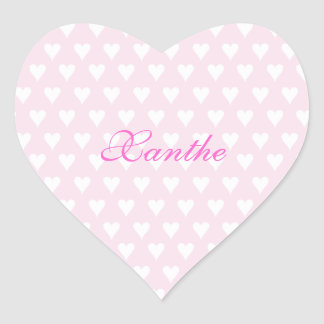 Personalized initial X girls name cute pink hearts Heart Sticker