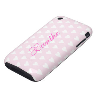 Personalized initial X girls name hearts pink cute iPhone 3 Tough Case