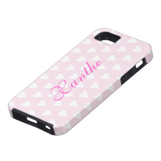 Personalized initial X girls name hearts pink cute Tough iPhone 5 Case