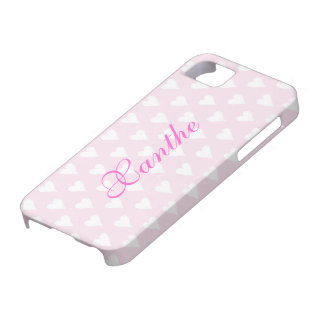 Personalized initial X girls name hearts pink cute Case For The iPhone 5