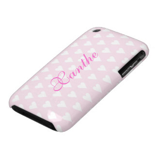 Personalized initial X girls name hearts pink cute iPhone 3 Case-Mate Case