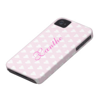 Personalized initial X girls name hearts pink cute iPhone 4 Covers