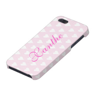 Personalized initial X girls name hearts pink iPhone 5/5S Cover