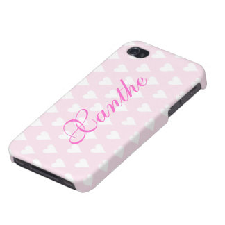 Personalized initial X girls name hearts pink iPhone 4 Cases