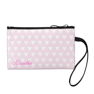 Personalized initial X girls name pink hearts Coin Purses
