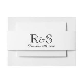 Personalized Initials and Date Blue Belly Band Invitation Belly Band